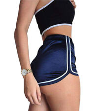 New Ladies Silk Shorts Summer Slim Fit Elastic Booty Workout Bottom High Rise