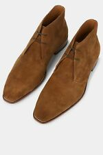 Hardy Amies Mens Tobacco Suede Boots Lace Up Smart Casual Ankle Shoes