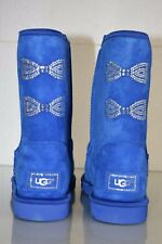 New UGG Uggs Classic Short SWAROVSKI CRYSTAL Bow Boots Royal Blue Cobalt Shoes 9