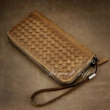 Genuine Leather Cowhide Purse Mens Handmade Woven Clutch Bag Wallet Gift WA04D
