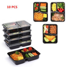 10PCS Lunch Box Dishwasher Food Storage 3 Compartment Containers Microwave Z