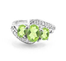 925 Sterling Silver Oval Green Peridot Ring Natural Three Gemstones Size 5-11