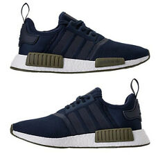 ADIDAS NMD RUNNER R1 MESH CASUAL MEN's COLLEGIATE NAVY - OLIVE CARGO - WHITE NEW