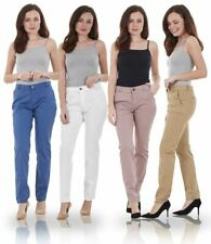 Ladies Slim Leg Womens Chino Cotton Pants Stretch Regular Fit Trousers
