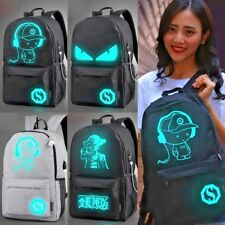 Anime Luminous Laptop Backpack USB Charge Student Schoolbag Preppy Travel Bag