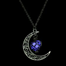 Moon & Heart Choker Necklace Glowing In The Dark Dangle  Moon Necklaces