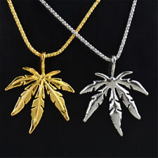 New Silver Gold Plated Maple Leaf Shape Men Women Pendant Necklace Jewelry Gift