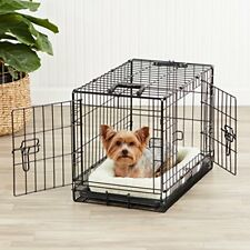 2 Door Dog Crate Metal Folding Portable Pet Cat Kennel Cage w Divider & Tray 22""