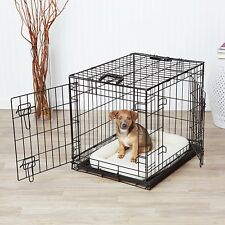 2 Door Dog Crate Metal Folding Portable Pet Cat Kennel Cage w Divider & Tray 24""