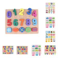 Wooden Educational Toy Puzzle Jigsaw Early Number Math Letter Alphabet Learning