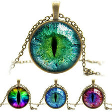 Vintage Colored Dragon Cat Eye Cabochon Glass Chain Pendant Necklace Jewelry New