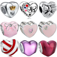 925 silver european sterling heart charms bead for bracelet chain necklace BK002