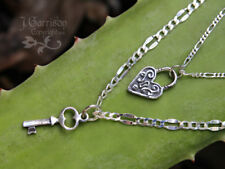 Sterling Silver Key to My Heart Couples 2 Necklace Set- Anniversary, Lock + Key
