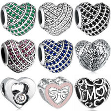 European 925 pave sterling heart silver charms bead for bracelet necklace BK009