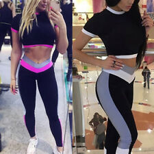 Women 2pc Tracksuit Hoodies Sweatshirt Pants Sets Sport Jogging Wear Casual Suit
