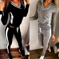 2Pcs Women Tracksuit Hoodies Sweatshirt Pants Sets Sport Wear Casual Suit Sweats