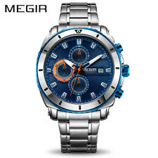 MEGIR Chronograph Quartz Men Watch Luxury Brand Stainless Steel Business Wrist