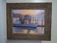 "MANON SANDER ""TUCKED IN"" BOAT IN HARBOR PLEIN AIR  O/B 13 X 17 ESTATE LOT"
