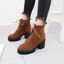 Women's Suede Leather Martin Boots Block High Heel Lace-Up Zip Ankle Warm Shoes