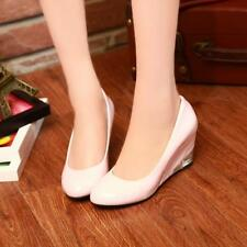 Cute Women round toe Patent Leather Wedge Heel Slip On casual Office Court Shoes