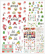 Christmas Snowflakes Gingerbread Man Hat Candy Cane 3D Nail Art Stickers Decals