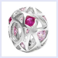 Sterling Silver Ball Flower Round Pink Crystal Bead for European Charm Bracelet