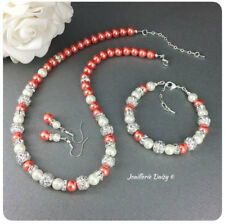 Handmade Coral Necklace Pearl Jewelry Set Bridesmaid Wedding Bridal Jewelry