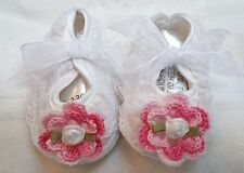 NEW WHITE SATIN LACE SHOES w/ ROSE 0 3 6 9 12 MONTHS BABY INFANT NEWBORN GIRLS