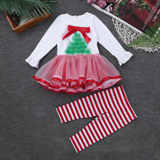 Baby Girl Christmas Tree Tutu Dress Striped Pants Casual Outfit Xmas Party Suit