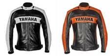 Yamaha black biker cafe racer motorcycle bomber vintage leather jacket for men