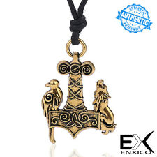ENXICO Wolf & Raven Mjolnir Thor's Hammer Pendant Necklace Nordic Viking Jewelry