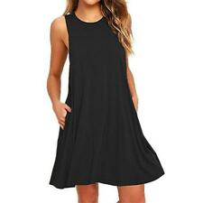 Summer Sleeveless Casual O-neck Solid Color Loose Large Size Women Dress