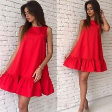 Women Ruffles Summer Sleeveless A Line Bodycon Short Mini Dress Large Size Party