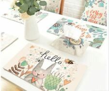Easter Rabbit Eggs Placemats Spring Bunny Floral Party Table Mat Home Decoration
