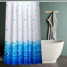Shower Curtain Fabric Raindrops Printed Bath Curtains Waterproof Home Decor Blue