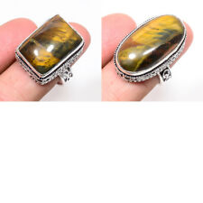 Natural Tigers Eye Gemstone Handmade Multi Shape Silver Plated Jewelry Ring Size