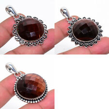 Natural Tigers Eye Gemstone Handmade Silver Plated Jewelry Chain Pendant 1.89""
