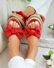 Womens Slip On Sandals Bow Flat Mule Summer Sliders Espadrille Shoes Beach Shoes