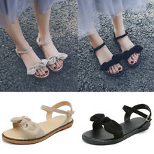 Ladies Womens Bow-Knot Open Toe Slingback Sandals Casual Flat Ankle Strap Shoes