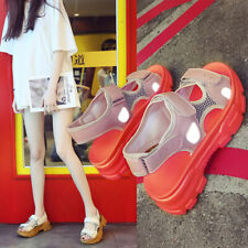 Fashion Womens Platform Wedge Shoes Summer Luminous Mesh Comfy Slingback Sandals