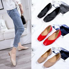 Womens Square Toe Brogues Flat Pumps Ladies Casual Work Smart Loafers Boat Shoes