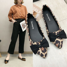 Womens Ladeis Bow-Knot Pointed Toe Flat Pumps Slip On Leopard Print Boat Shoes