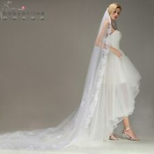 Velos De Novia Lace Edge Ivory White Long Wedding Veil Appliques One Layer Tulle