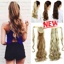 Wrap Around Clip In On Ponytail Hair Extensions Piece Pony Tail Straight /Curly