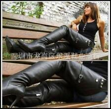 Womens Leather Pointy Toe Over Knee Thigh Boots Rivet High Heels Nightclub Shoes