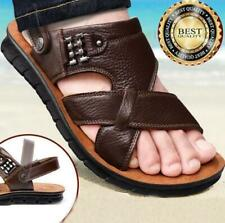 Men's Summer Breathable Leather Sandals Casual Open Toe Beach Sandals Flat Shoes