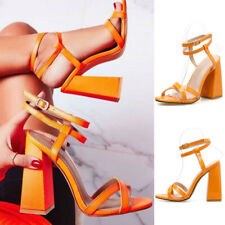 Womens Ankle Double Strappy Peep Toe Sandals High Block Heels Party Shoes Size