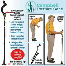 Campbell Posture Walking Cane Stick Adjustable Heights Folding As Seen on TV New