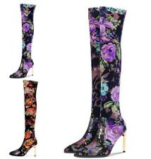 Womens Over Knee Thigh Boots Printing Floral Stiletto High Heel Shoes Pointy Toe
