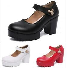 Women's Ankle Strappy Buckle Sandals Block High Heels Pumps Shallow Court Shoes